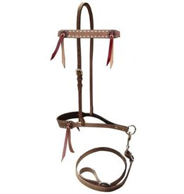 Showman ® Showman ® Roughout leather tie down noseband and strap with buckstitch trim.
