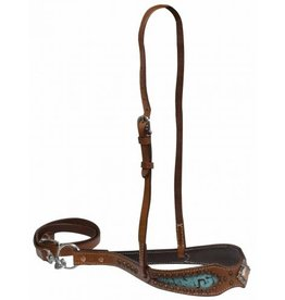 Showman ® Showman ® Double stitched noseband with teal filigree print inlay accented with copper concho.