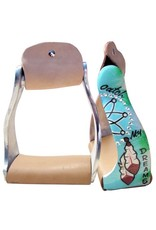 """Showman ® Showman ® Lightweight twisted angled aluminum stirrups with painted """" Catch My Dreams """" design"""