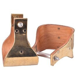 """Showman ® Showman ® Polished brass covered wood stirrups with 5"""" tread"""