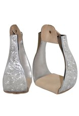 """Showman ® Polished aluminum bell engraved stirrups with 3"""" neck, 4.75"""" wide, and 2.75"""" tread."""