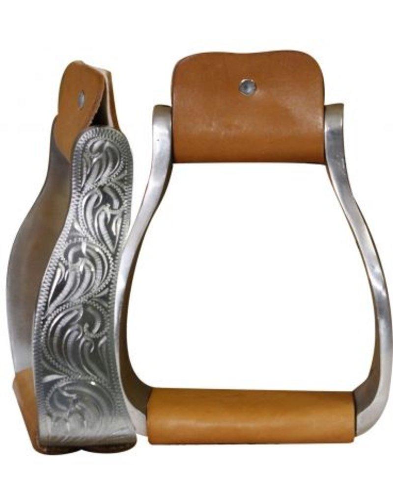 Showman ® Aluminum engraved off set stirrup
