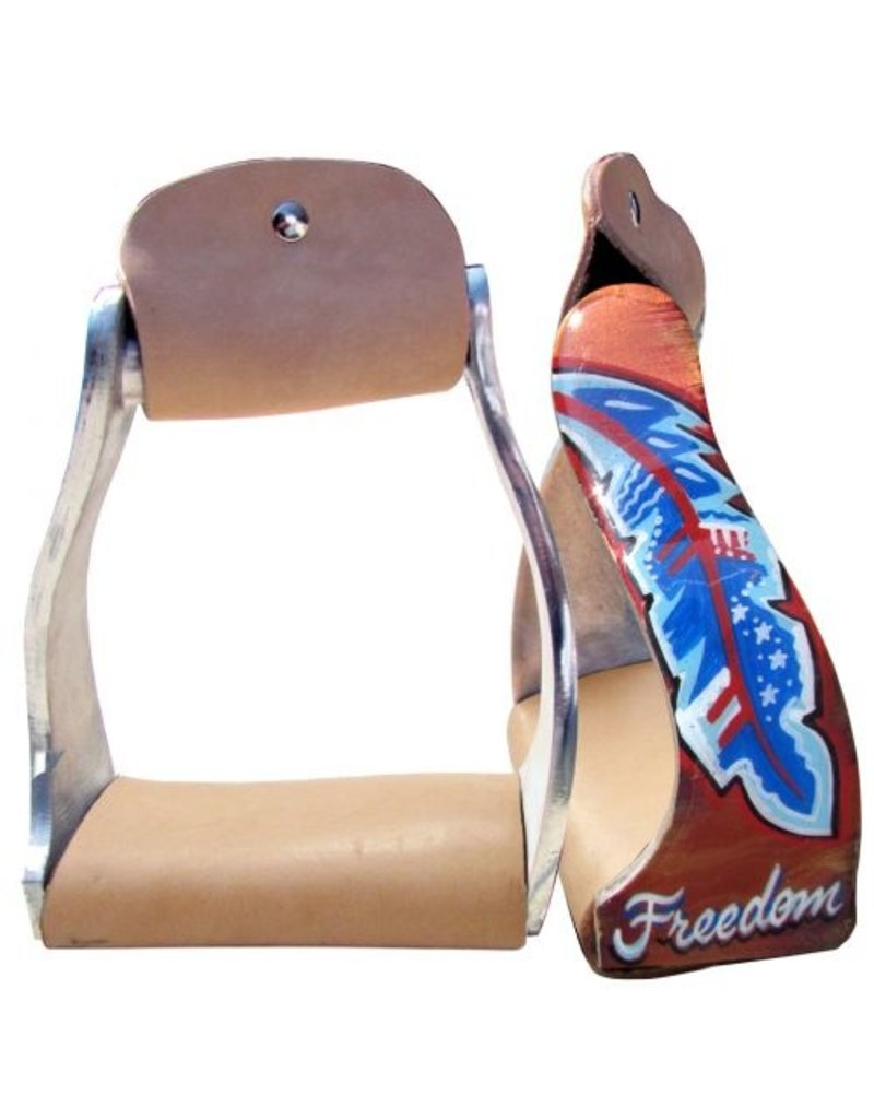 """Showman ® Showman ® Lightweight twisted angled aluminum stirrups with """"Freedom"""" feather design."""