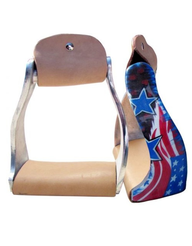 Showman ®  Showman ® Lightweight twisted angled aluminum stirrups with stars and stripes design