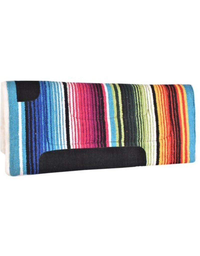 """Showman ® Showman® 30"""" X 32"""" 100% Acrylic Woven Wool top pad with fleece bottom. This pad features 100% woven wool serape top with a 1"""" thick fleece bottom."""
