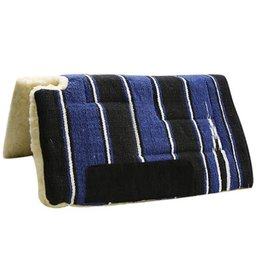 """Showman ® 30"""" x 30"""" Economy Style Navajo built up cutback saddle pad with fleece bottom and suede wear leathers. Cut back opening at whithers measures aprox 4""""."""