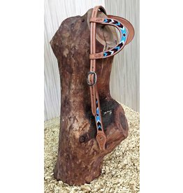 Cattleman's Double ear headstall  With TURQUOISE beads
