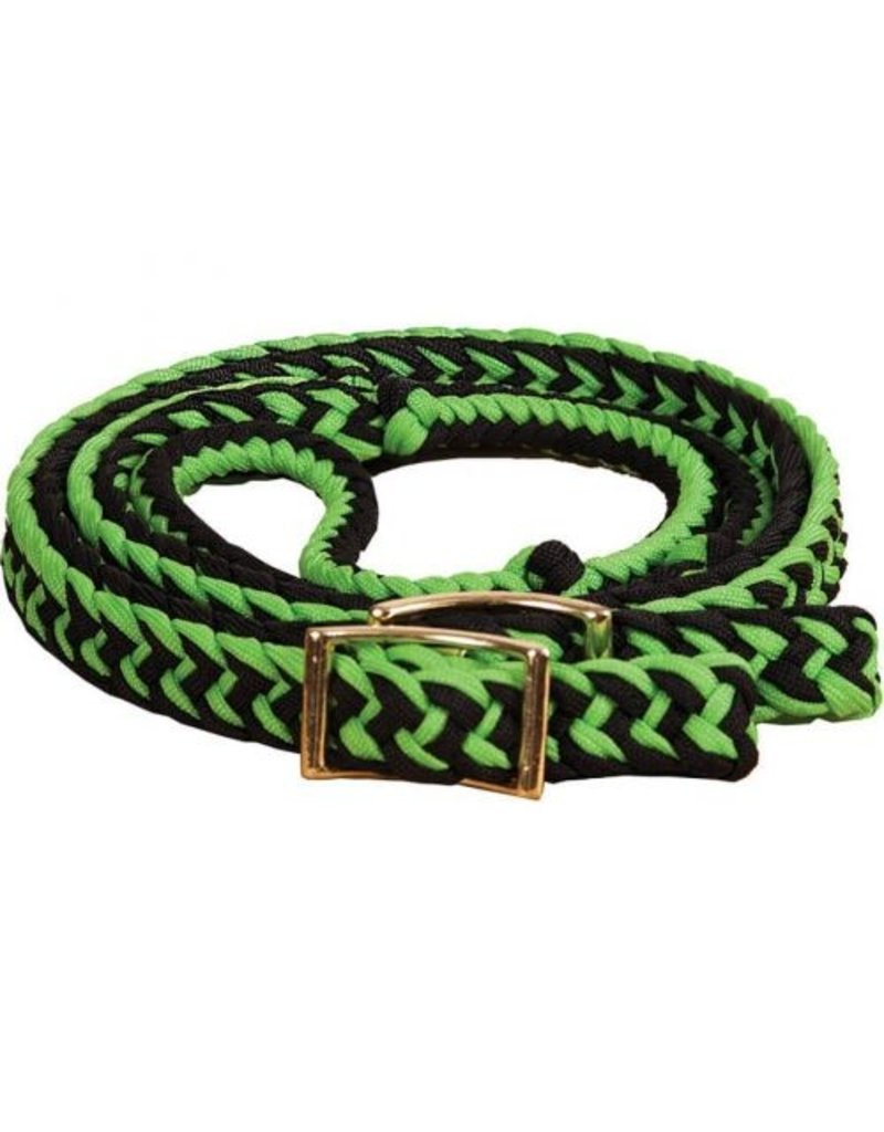 Showman ® Equi-Sky 8' Lime Green and Black Braided and Knotted Barrel Reins.