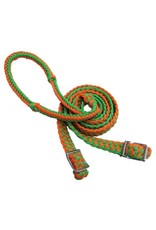 """Showman ®  Showman™ braided nylon barrel reins with easy grip knots. These reins measure 7 ft and are 1"""" wide and feature a round braided hand grip with knots. Brass plated hardware at bit ends can adjust to different lengths, the braides allow for easy adjustment"""
