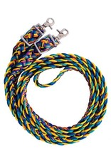 """Showman ® Showman® Rainbow braided nylon barrel reins with scissor snap ends. These reins measure 96"""" long and 1"""" wide. Reins feature brass plated hardware at bit ends so they can be adjusted to different lengths and come with scissor snap ends to easily attach to"""
