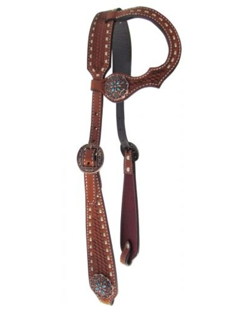 Showman ® Showman ® Argentina cow leather single ear headstall. This headstall features medium colored Argentina cow leather with buckstitch and basketweave tooling on cheeks, ear piece, and crown. Headstall is accented with copper and turquosie stone conchos and b