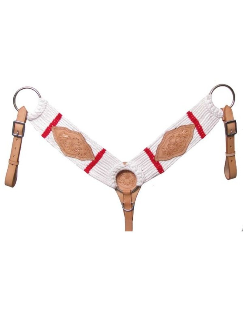 Showman ® 13 strand string breastcollar with floral tooled leather. Features leather tugs and leather tie down strap.