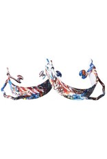 """Showman ® Showman® American Pride aluminum bumper spurs. Spurs feature light weight aluminum with a stainless steel bumper. Has 3.5"""" boot width with a 1"""" band. Spurs have a American flag and eagle overlay print.  Matching Stirrups #1PSTRB  ***Print will vary/can fr"""