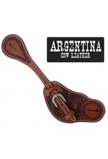Showman ®  Showman® Mens Size Argentina Cow Leather Spur Straps. These Argentina cow leather spur straps feature floral tooling. Made by Showman® products.