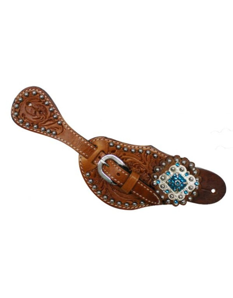 Showman ® Showman™   Ladies Tooled Leather Spur Straps with Diamond Shaped Blue Rhinestone Conchos.