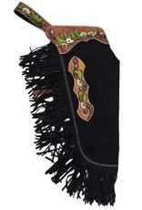 Showman ® Showman ® Black suede leather chinks with hand painted steer skull, sunflowers and cactus design.
