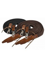 Showman ® Showman ® 8ft flat braided nylon reins with leather popper ends and scissor snaps.