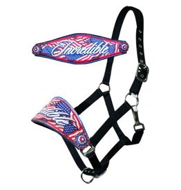 """Showman ® Showman ®  Leather bronc halter with """" Incredible Flag"""" design."""