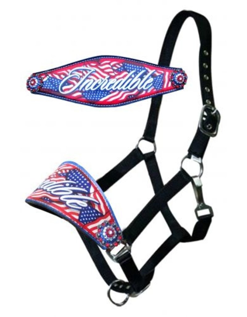 """Showman ® Showman ®  Leather bronc halter with """" Incredible Flag"""" design.  This halter features a wide scalloped 4.25"""" noseband with american flag design and """"Incredible"""" lettering. Accented with red, white, and blue crystal conchos. 2 ply webbed nylon with adjusta"""