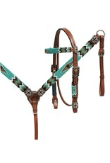 """Showman ®   Showman ® Beaded headstall and breast collar set. This set features medium oil leather with a beaded teal, gold and black cross design overlay. Headstall comes with 5/8"""" x 7' leather split reins."""