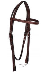 Showman ® Showman ® Browband Leather Headstall. Features double stitched leather with stainless still hardware. Bit loops have leather ties and headstall is adjustable on both sides. Headstall is dark brown in color.