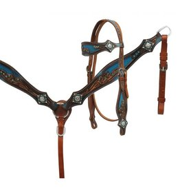 Showman ® Showman ® Crystal rhinestone headstall and breast collar set with blue inlay.