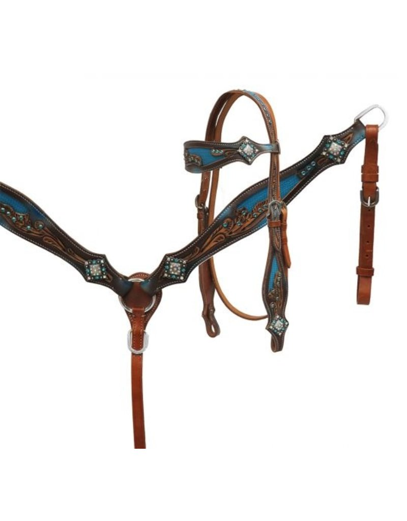 Showman ® Showman ® Crystal rhinestone headstall and breast collar set with blue inlay. This set features medium leather with a floral tooled design and a metallic blue inlay on cheeks and browband. Leather is accented with teal crystal rhinestones and iridescent c