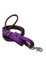 Showman ®  Showman ® 8ft Glitter leather contest reins. These reins feature medium leather rolled center and a glitter overlay with conway buckle and single scissor snap end.