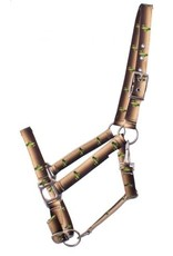 Showman ® Showman® Premium Nylon Horse Sized Halter with cactus design. Comes equipped with heavy duty satin nickle hardware and a heavy duty snap throat latch. Easily adjusts at crown and nose. Features a cactus design.