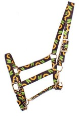 Showman ® Showman® Premium Nylon Horse Sized Halter with sunflower and cactus design. Comes equipped with heavy duty copper plated hardware and a heavy duty snap throat latch. Easily adjusts at crown and nose. Features a sunflower and cactus design.