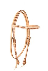 Showman ® Showman ® Argentina cow leather browband headstall. This headstall features quality light Argentina cow leather with tooled barbwire design. Includes stainless steel hardware with leather quick change tie to easily attach your bit.