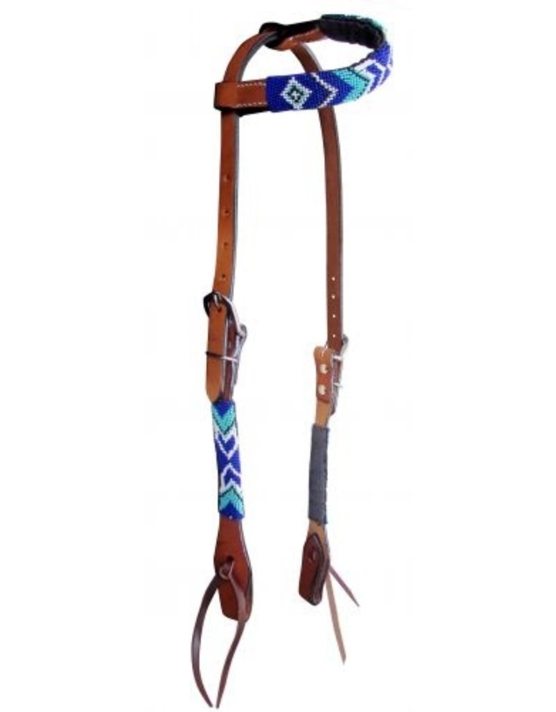 Showman ® Showman ® Arrow Beaded one ear headstall. This headstall features medium leather with a arrow beaded design overlay on cheeks and one ear piece. Beads are royal blue, turquoise, and white.