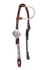 Showman ® Showman ® Tooled Argentina cow leather show headstall. This headstall features medium oil Argentina cow leather with single ear. Headstall has engraved silver plates on cheeks  and accented with silver studs and fully engraved silver buckles.