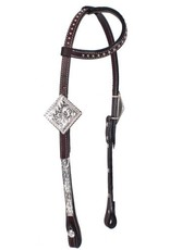 Showman ® Showman ® Tooled Argentina cow leather show headstall. This headstall features dark oil Argentina cow leather with single ear. Headstall has engraved silver plates on cheeks  and accented with silver studs and fully engraved silver buckles.