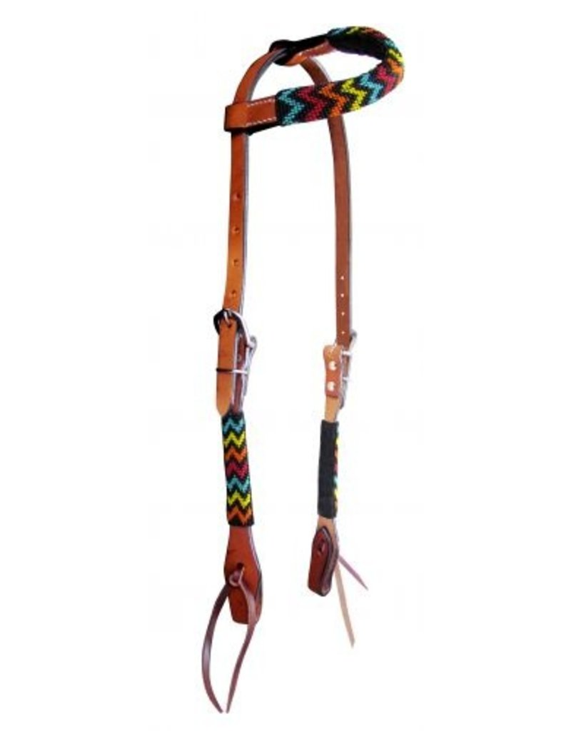 Showman ® Showman ® Rainbow Beaded one ear headstall. This headstall features medium leather with a rainbow beaded design overlay on cheeks and one ear piece. Beads are black, turquoise, red, yellow, and orange.