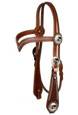 """Showman ® Showman ® double stitched leather silver beaded v brow headstall. Headstall features silver beading on  v brow and wide basketweave tooled cheeks. Headstall is accented with silver engraved cut out praying cowboy conchos. Headstall comes with 5/8"""" X 7' le"""