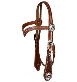 Showman ® Showman ® double stitched leather silver beaded v brow headstall.
