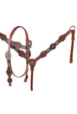 Showman ® Showman ®  Beaded Headstall and Breastcollar Set with tribal tooling. This set features red and turquoise beaded overlays on headstall and breastcollar and is accented with turquoise stones and copper conchos and studs. Headstall and breastcollar is mediu