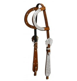 Showman ® Showman ® Tooled Argentina cow leather headstall with engraved silver.