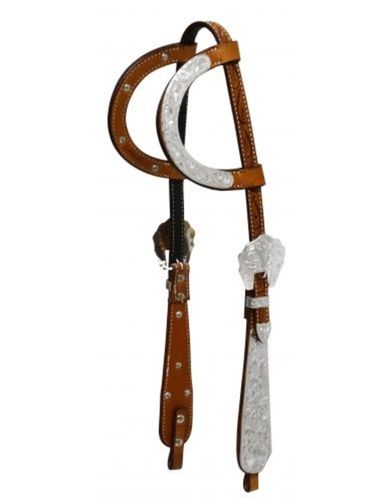 Showman ® Showman ® Tooled Argentina cow leather headstall with engraved silver. This headstall features tooled medium oil Argentina cow leather with engraved silver plates on double ear, buckles and tear drop cheeks.