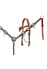 """Showman ® Showman® Headstall and breast collar set with beaded dream catchers. This set features medium leather with colored crystal rhinestones and beaded dream catcher pendants. Headstall comes with 5/8"""" x 7' leather split reins."""