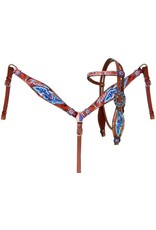 """Showman ® Showman® """"Freedom"""" feather headstall and breast collar set. This set features medium leather with a hand painted red, white, and blue feather and """"Freedom"""" design. Headstall and breast collar are accented with silver studs and red, white, and blue crystal"""