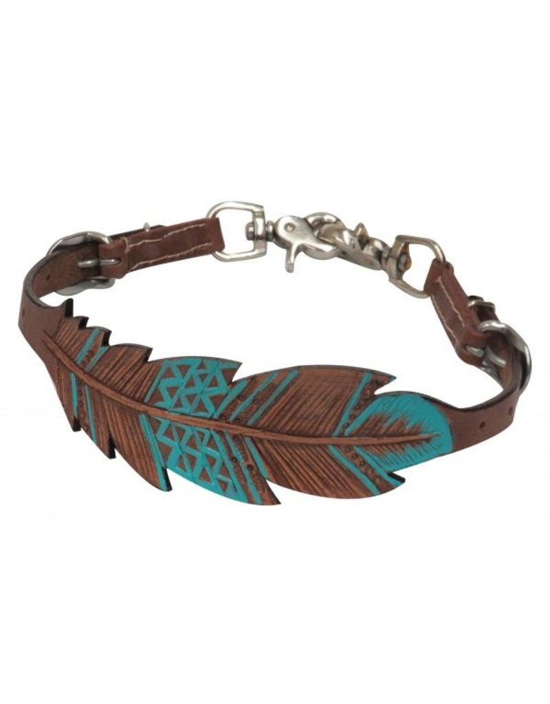 """Showman ® Showman ® PONY Cut-out, hand painted feather wither strap. This strap features medium oil leather with a 2.5"""" cut-out and tooled feather design with teal hand painted accents. Easily adjusts with 2 buckles 19""""-24""""."""