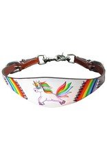 """Showman ® Showman ® PONY SIZE  Rainbow Unicorn print wither strap. Strap measures 1.5"""" wide with a rainbow unicorn print painted design. Attaches onto breast collar with scissor snap ends. Easily adjusts 24"""" to 19"""" with nickel plated buckle."""