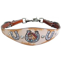 Showman ® Showman ® PONY SIZE  Distressed Horseshoe print wither strap.
