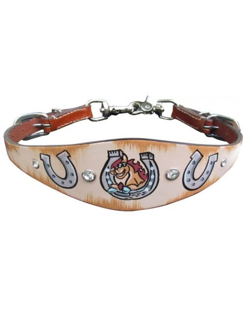 """Showman ® Showman ® PONY SIZE  Distressed Horseshoe print wither strap. Strap measures 1.5"""" wide and has a distressed background with a horseshoe print overlay design.  Attaches onto breast collar with scissor snap ends. Easily adjusts 24"""" to 19"""" with nickel plated"""