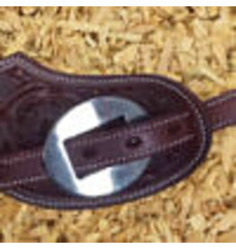 GVR LADIES spurstraps  with concho  flower tooling
