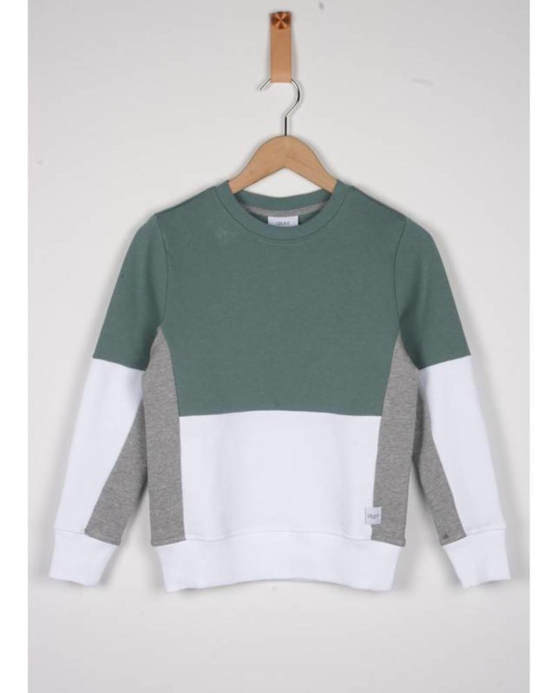 Grunt Grunt Sweater Est Dusty/Green/White Katoen Elastan