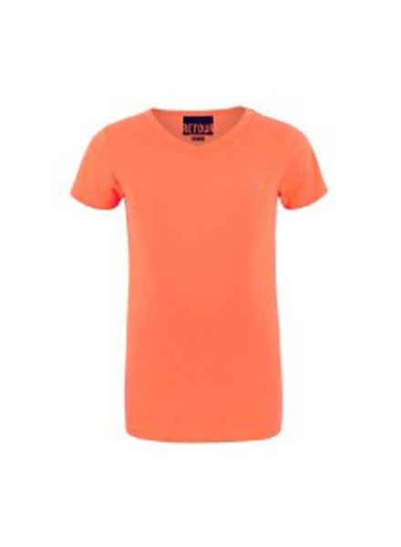 Retour Jeans T-shirt Sean Neon Orange Katoen Elastan