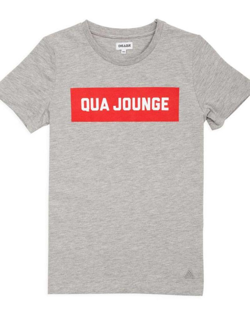 Cheaque T-shirt Qua Jounge Grey Katoen